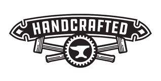 Handcrafted design or badge with hammers. Vector design featuring, crossed hammers, cog and anvil with handcrafted banner Royalty Free Stock Images