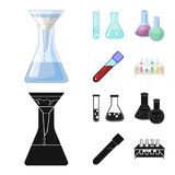 Vector design of flask and laboratory icon. Collection of flask and equipment stock symbol for web. Vector illustration of flask and laboratory symbol. Set of royalty free illustration