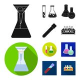 Isolated object of flask and laboratory symbol. Set of flask and equipment stock symbol for web. Vector design of flask and laboratory sign. Collection of flask stock illustration