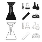 Isolated object of flask and laboratory icon. Collection of flask and equipment stock symbol for web. Vector design of flask and laboratory symbol. Set of flask vector illustration