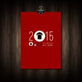 Vector design of flat Merry Christmas and Happy. New Year concept. Calendar cover on wood texture. Design elements for Flyer, Brochure Design Templates, Book stock illustration