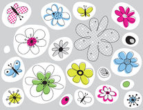 Vector design with flowers painted Royalty Free Stock Photo