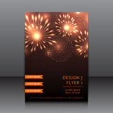 Vector design of the flyer with fireworks Royalty Free Stock Photos