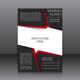Vector design of the flyer with red and black elements and places for images Royalty Free Stock Images