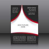 Vector design of the flyer with red and black elements and places for images Royalty Free Stock Photos