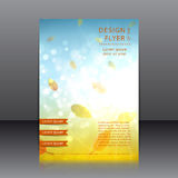 Vector design of the flyer with sunny autumn abstract background Royalty Free Stock Image