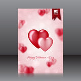 Vector design of the flyer for Valentine's Day with hearts Royalty Free Stock Photo