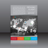 Vector design of the flyer whit blurred photo, colors elements and map Stock Image