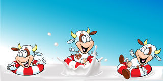 Vector design with funny cow swimming in milk Royalty Free Stock Image