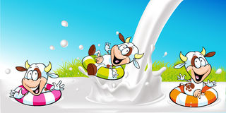 Vector design with funny cow swimming in milk splash Royalty Free Stock Photo