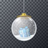 Blue present inside of crystal bauble. Vector design of glass Christmas bauble with snow and present inside Royalty Free Stock Photos