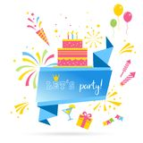 Vector Design for Greeting Cards and Poster with Balloon, Confetti and Gift Box, Template for Birthday . Fireworks and Celebration Background, Victory banner royalty free illustration