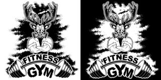 Vector design for a gym with an abstract depiction of a strong deer.  royalty free illustration