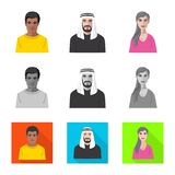 Vector design of hairstyle and profession  icon. Set of hairstyle and character  stock vector illustration. Vector illustration of hairstyle and profession royalty free illustration