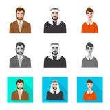 Vector design of hairstyle and profession  logo. Set of hairstyle and character  vector icon for stock. Vector illustration of hairstyle and profession  icon stock illustration