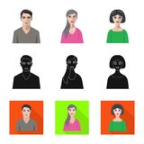 Isolated object of hairstyle and profession  icon. Collection of hairstyle and character  vector icon for stock. Vector design of hairstyle and profession stock illustration