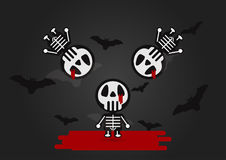 Vector Design for Halloween day. Blood flowing on Skeleton human with bats on black background Royalty Free Stock Images
