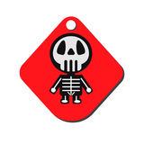Vector design for Halloween day. Skeleton  on red Label Royalty Free Stock Photography