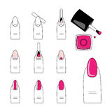 Vector design, how to do a manicure correctly. Steps of manicure Royalty Free Stock Images