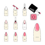 Vector design, how to do a manicure correctly. Steps of manicure Royalty Free Stock Photos