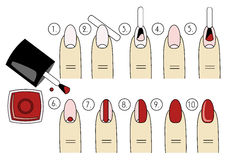 Vector design, how to do a manicure correctly. Steps of manicure Royalty Free Stock Photo