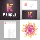 Vector Design icon K element with Business card and paper template Stock Image
