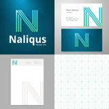 Vector Design icon N element with Business card and paper template Royalty Free Stock Images