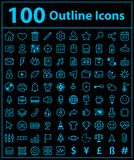 100 blue line icons. Vector design of icon set with symbol inside Stock Illustration