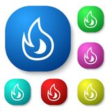 Fire. Vector design of icon set with symbol inside Royalty Free Stock Photos