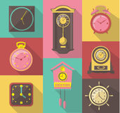 Vector design icon set of vintage wall clocks Royalty Free Stock Photos