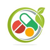 Logo icon for herbal medicine business. Vector design, illustrated logo icon with style and coloring in flat design Stock Image