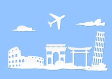 Travelling illustrations. Vector design of illustrations holiday around world Stock Photos