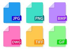Picture files icon pack. Vector design of image type flat icon design Stock Photography