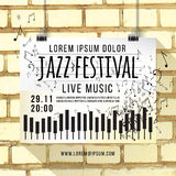 Vector design of Jazz music festival, poster background template. keyboard with music notes. brick wall, background Royalty Free Stock Image