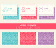 Vector design kit with business card templates and seamless patterns, baby collection Stock Photos