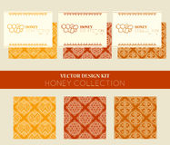 Vector design kit with business card templates and seamless patterns. Stock Photography