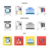 Vector design of laundry and clean icon. Collection of laundry and clothes stock vector illustration. Vector illustration of laundry and clean symbol. Set of vector illustration