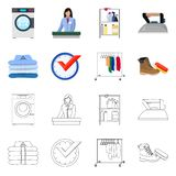 Vector design of laundry and clean icon. Set of laundry and clothes vector icon for stock. Vector illustration of laundry and clean symbol. Collection of stock illustration