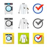 Vector design of laundry and clean sign. Collection of laundry and clothes vector icon for stock. Vector illustration of laundry and clean logo. Set of laundry royalty free illustration