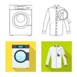 Vector design of laundry and clean sign. Set of laundry and clothes stock vector illustration. Vector illustration of laundry and clean logo. Collection of royalty free illustration