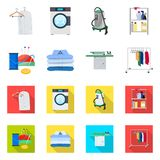 Vector design of laundry and clean symbol. Set of laundry and clothes vector icon for stock. Vector illustration of laundry and clean sign. Collection of stock illustration