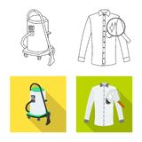Vector design of laundry and clean symbol. Set of laundry and clothes vector icon for stock. Vector illustration of laundry and clean sign. Collection of royalty free illustration