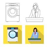 Isolated object of laundry and clean icon. Collection of laundry and clothes stock vector illustration. Vector design of laundry and clean symbol. Set of royalty free illustration