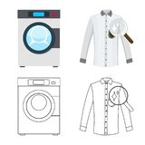 Vector design of laundry and clean symbol. Set of laundry and clothes stock symbol for web. Vector illustration of laundry and clean sign. Collection of laundry royalty free illustration