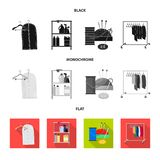 Vector design of laundry and clean symbol. Set of laundry and clothes vector icon for stock. Vector illustration of laundry and clean sign. Collection of vector illustration