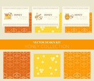 Vector design layouts - natural honey collection. Vector design kit with business card templates and seamless patterns. Natural honey collection (types of honey Royalty Free Stock Image