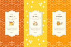 Vector design layouts - natural honey collection. Vector packaging template with seamless patterns. Natural honey collection (types of honey - chunk honey Stock Images