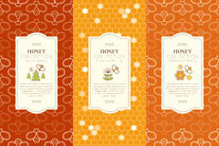 Vector design layouts - natural honey collection Royalty Free Stock Images