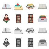 Isolated object of library and textbook icon. Set of library and school stock vector illustration. Vector design of library and textbook symbol. Collection of stock illustration