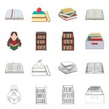 Vector design of library and textbook symbol. Set of library and school vector icon for stock. Vector illustration of library and textbook sign. Collection of stock illustration